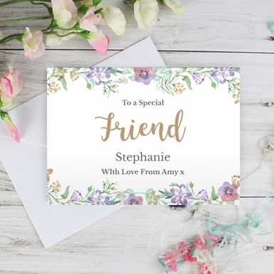 Personalised Gold Floral Watercolour Card delivery to UK [United Kingdom]