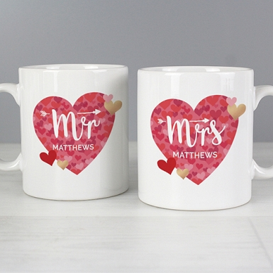 Personalised Mr and Mrs Valentines Day Confetti Hearts Mug Set Delivery to UK