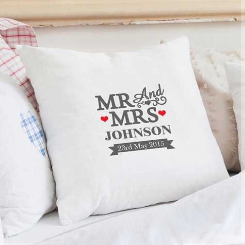 Personalised Mr and Mrs Cushion Cover delivery to UK