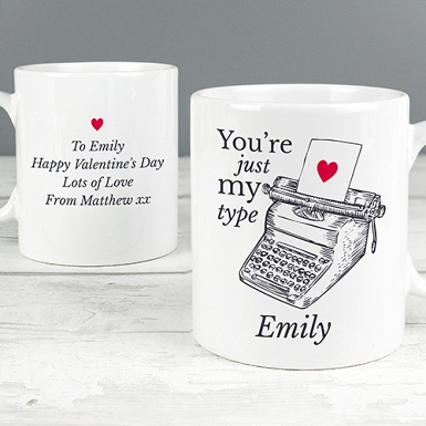 Personalised Just My Type Valentines Mug Delivery to UK