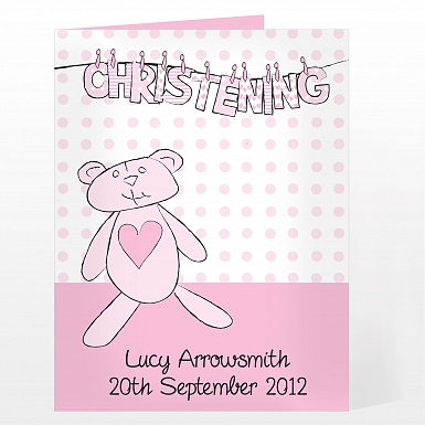 Personalised Girl Christening Wash Line Card