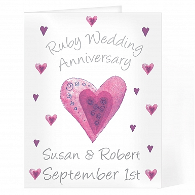 Personalised Ruby Anniversary Card