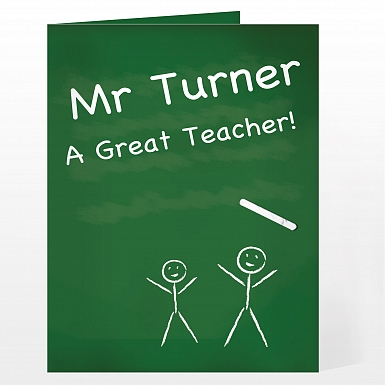 Personalised Teacher Pet Chalk Board Card