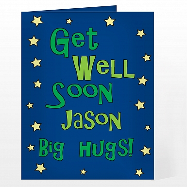 Personalised Get Well Blue Stars Card