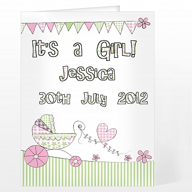 Personalised Whimsical Pram Its a Girl Card