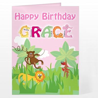 Personalised Girls Animal Alphabet Card