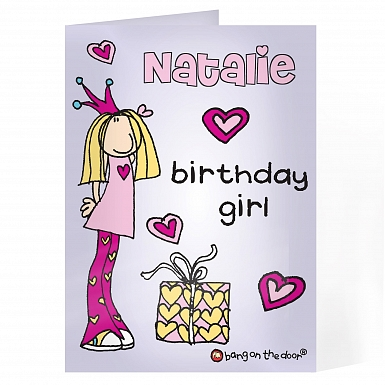 Personalised Bang on the Door Birthday Girl Card