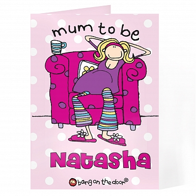 Personalised Bang on the Door Mum to Be Card