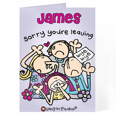 Personalised Bang on the Door Leaving Card