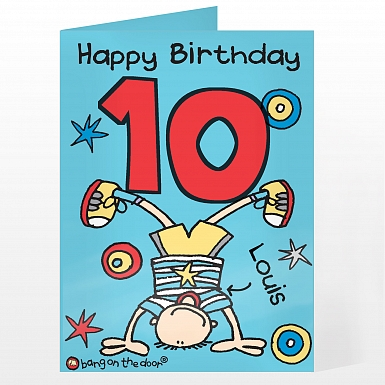 Personalised Bang on the Door Upsidedown Boy Age Card