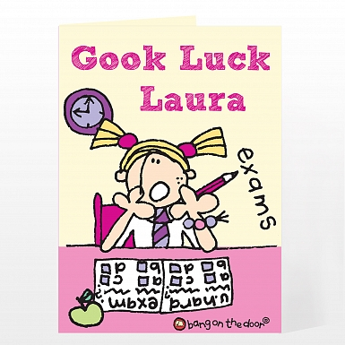 Personalised Bang on the Door Girls Exams Card