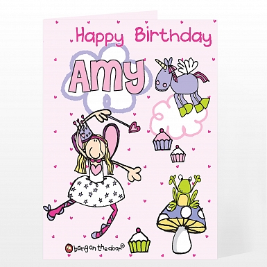 Personalised Bang On The Door Fairy Card