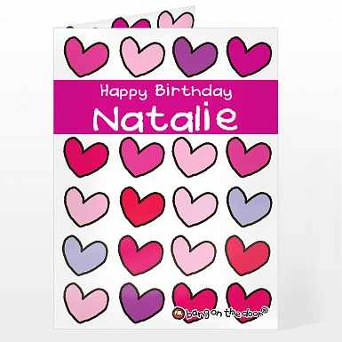 Personalised Bang On The Door Hearts Card