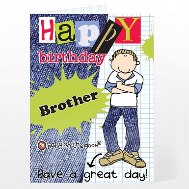 Personalised Bang On The Door Happy Birthday Male Card
