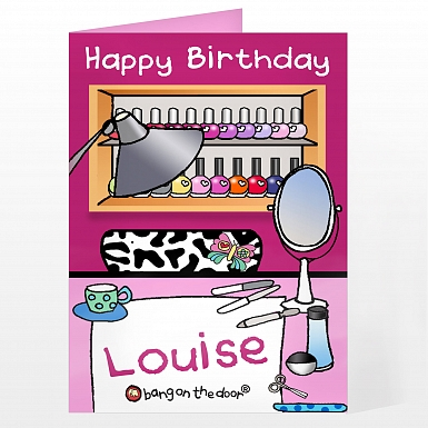 Personalised Bang On The Door Beauty Parlour Card