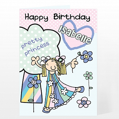 Personalised Bang On The Door Pretty Princess Card