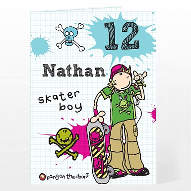 Personalised Bang On The Door Skater boy Age Card
