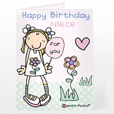 Personalised Bang On The Door Little Girl Card