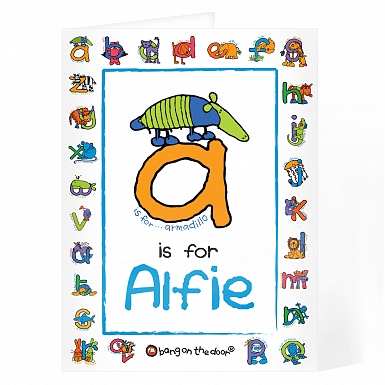 Personalised Bang On The Door Animal Alphabet Boys Card