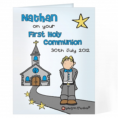 Personalised Bang On The Door First Holy Communion Boys Card