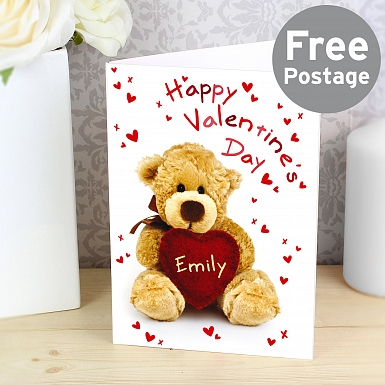 Personalised Teddy Heart Card