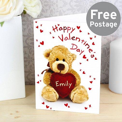 Personalised Teddy Heart Card