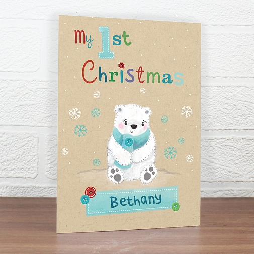 Personalised Polar Bear My 1st Christmas Card