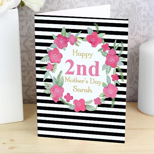 Personalised Floral Stripe Card