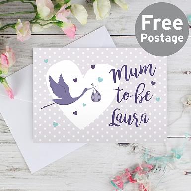 Personalised Mum to Be Stork Card