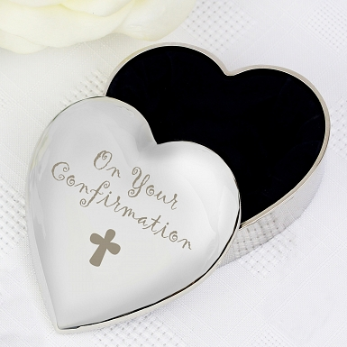 Confirmation Cross Heart Trinket Box