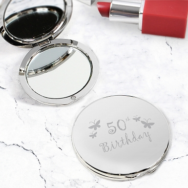 50th Butterfly Round Compact Mirror