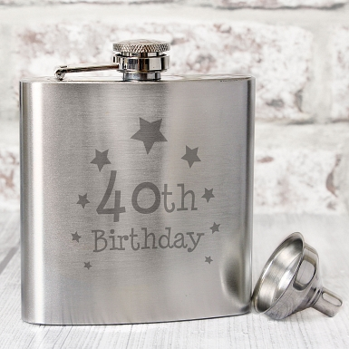 40th Birthday Hip Flask