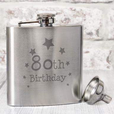 80th Birthday Hip Flask