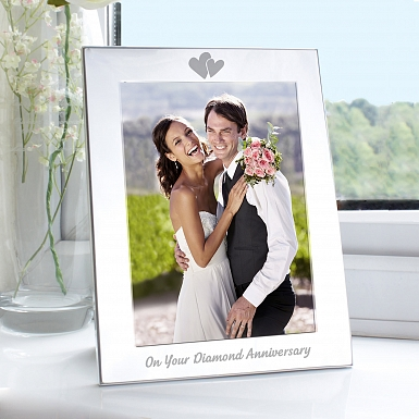 Silver 5x7 Diamond Anniversary Photo Frame