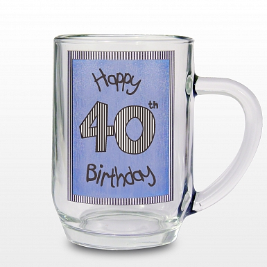 Blue 40th Happy Birthday Tankard