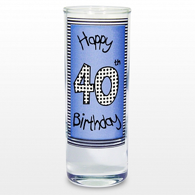 Blue 40th Happy Birthday Shot Glass