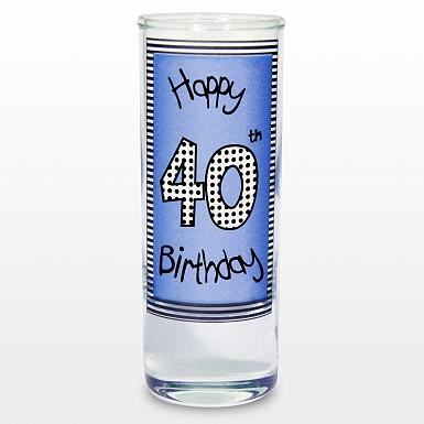 Blue 40th Happy Birthday Shot Glass