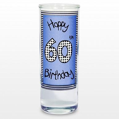 Blue 60th Happy Birthday Shot Glass