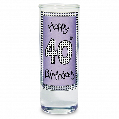 Lilac 40th Happy Birthday Shot Glass
