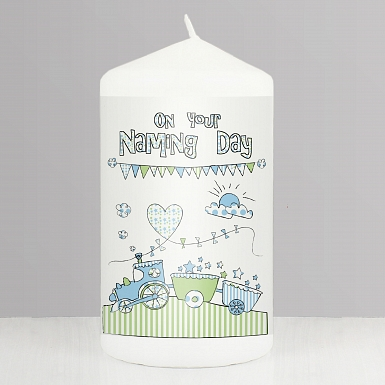 Train Bunting Naming Candle