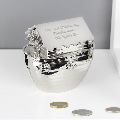 Personalised Silver Noahs Ark Money Box