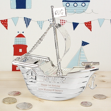 Personalised Pirate Ship Money Box