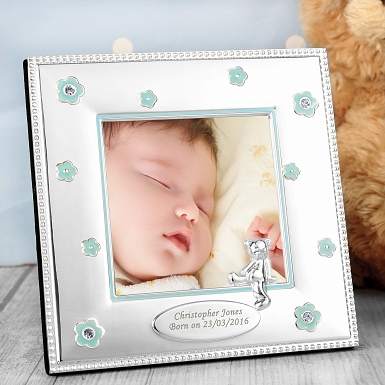 Personalised Blue Flowers 3x3 Photo Frame
