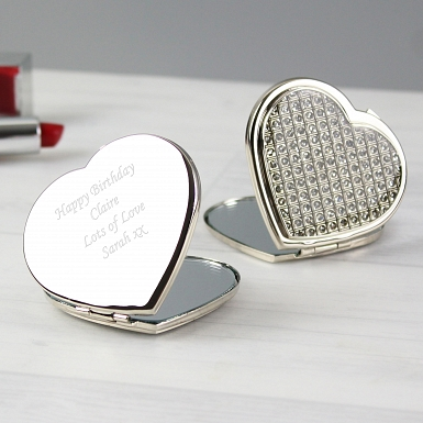 Personalised Diamante Heart Compact Mirror