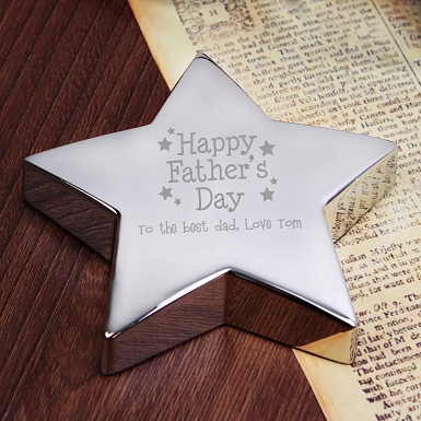 Personalised Happy Father's Day Stars Star Paperweight