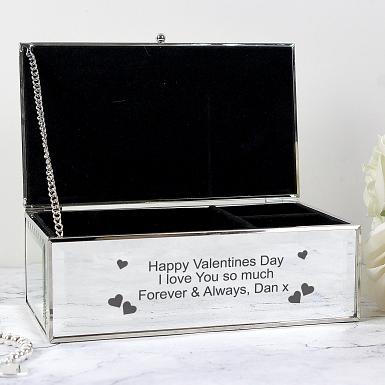 Personalised Hearts Mirrored Jewellery Box