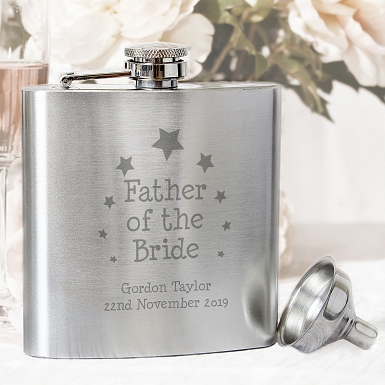 Personalised Stars Father of the Bride Hip Flask