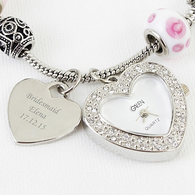 Personalised Candy Pink Watch Charm Bracelet 21cm
