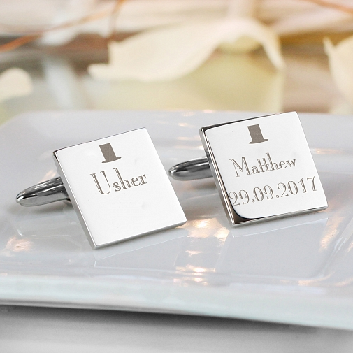 Personalised Decorative Wedding Usher Square Cufflinks