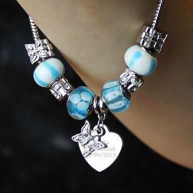 Personalised Butterfly & Heart Charm Bracelet - Sky Blue - 21cm